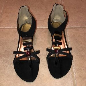 Shoes - Black gladiator sandals with zippered back